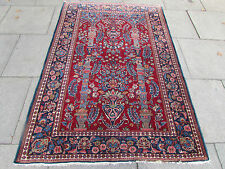 Antique Shabby Chic Traditional HandMade Persian Red Wool Oriental Rug 202x138cm