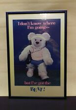 "Vintage 1980's framed poster 14x10 Bear with Walkman ""I've got the Beat"""