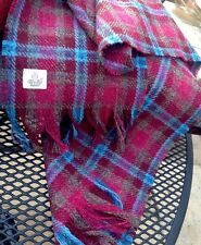 Harris Tweed Scarf Shawl Wool Ruby Red Burgundy Magenta Purple Teal blue Luxury