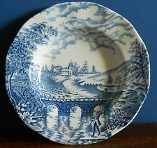 A vintage  Crown Ducal Bridge Scenes blue and white soup bowl