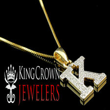 10K Solid Gold Genuine Diamond Initial Letter K Mini Pendant Charm Chain Set