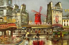 "Oil painting on canvas   "" Paris - Moulin Rouge "" Size:36""x24"""