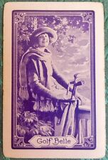 """GOLF BELLE"" PRETTY YOUNG LADY GOLFER-PURPLE-VINTAGE NN NAMED SWAP PLAYING CARD"