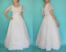 Vtg 80s White LACE Bow Southern Belle Wedding Party Prom Ball Gown Costume DRESS