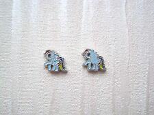 PRETTY BLUE MY LITTLE PONY Tiny 8mm Stud Earrings Pair of Rainbow Tail Horse