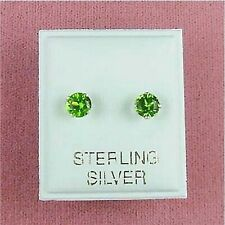 Sterling Silver - 5mm Round Peridot CZ Stud Earrings (SE085)