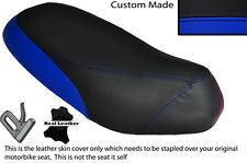 BLACK & ROYAL BLUE CUSTOM FITS PIAGGIO SFERA 125 DUAL LEATHER SEAT COVER ONLY