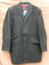 "BNWT MENS LUXURY WOOL & CASHMERE BLEND NEW OXFORD OVERCOAT GREY UK XXL 48"" CHEST"