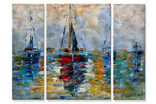 Metal Wall Decor Harbor Boats 3 Panel Set Abstract Sailboats USA Made Art