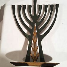 Chanukah Modernist Menorah Brass Green Israel By Tamar Judaica Candle Holder