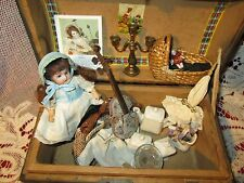 Adorable Antique doll trunk with bisque  doll and extras , most accessories are