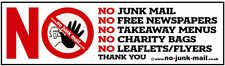 No Junk Mail Letterbox Sticker & No Cold Callers Front Door Decal Sign  WATERPR