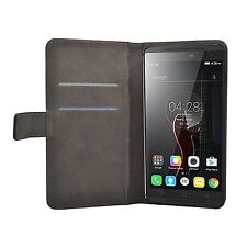 Wallet BLACK Leather Flip Case Cover For Lenovo Vibe K4 Note + 2 protectors