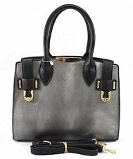 Ladies Designer Inspire Tote Shoulder Handbag Party Fashion Faux Leather Bag Gry