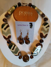 Kazuri Hand-Painted Fair Trade Gaby Lizard Ceramic Necklace Earring Set Kenya