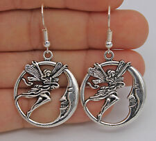 "925 Silver Plated Hook - 2"" Hollow Stylish Round Beauty Angle Moon Earrings #05"