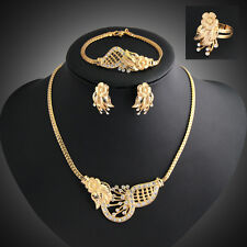 Crystal Wedding 18K Gold Plated Clavicle Necklace Elegant Luxury Jewelry Sets
