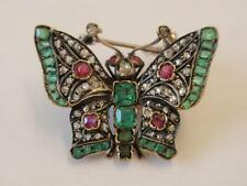 ANTIQUE GEORGIAN GOLD DIAMOND EMERALD & RUBY BUTTERFLY BROOCH/PENDANT C. 1830