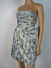 $298 BCBG MaxAzria Haze Blue Gold Feather Jacquard Bow Sheath Dress 10 NWT B660