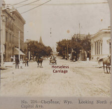1907 ED TANGEN STEREOVIEW OLD AUTOMOBILE ON CAPITAL AVENUE CHEYENNE WYOMING