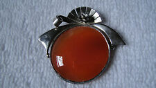 Antique sterling silver Orange Agate gemstone pin brooch