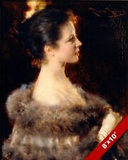 YOUNG WOMAN SIDE PROFILE PORTRAIT IN EVENING GOWN PAINTING ART REAL CANVAS PRINT