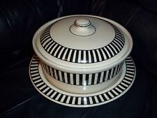 Guernsey Cooking Ware Casserole & Lid & Underplate Black & White Rare  EC