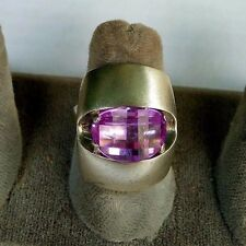 MODERNIST STERLING SILVER TRILLION CUT AMETHYST RING. MADE IN UKRAINE. SIZE 7.75