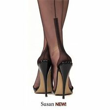 New GIO SUSAN Heel FF Fully Fashioned Seamed Nylon Stockings Black 12.5 XXL
