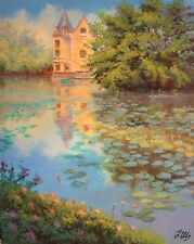 "Lily's pond. Original framed acrylic on paper 11""x14"" painting from artist"