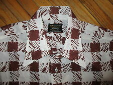 vtg TOWNCRAFT JC PENNEY POLYESTER SHIRT Brown 70s Disco Abstract Geometric MED