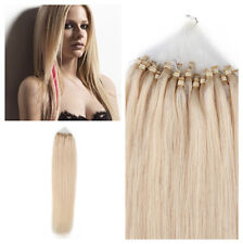 "18"" Loop Micro Ring Beads Tipped Remy Human Hair Extensions #60 Light Blonde 50s"