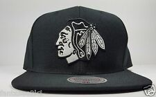 Chicago Blackhawks Mitchell & Ness Basic Wool Black White Logo Snapback Hat NHL