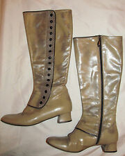 vintage Hego'S Victorian Steampunk Go Go Mod tall taupe tan marbelized boots 8