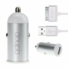 2in1 iPhone 4 4S USB VOITURE Chargeur De Set chargement Câble 30pin - Blanc