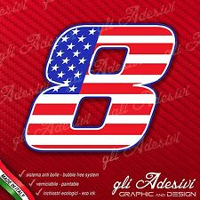 Adesivo Stickers NUMERO 8 moto auto cross gara USA Star & Stripes 15 cm