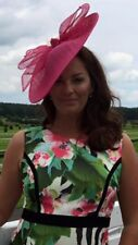 HOT PINK DISC FASCINATOR HAT WEDDING OCCASION FORMAL MOTHER OF THE BRIDE