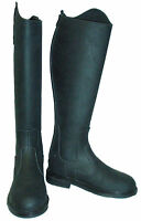 Eqvvs Black Long Leather Riding Boots Regular + Extra Wide Calf Sizes 5/6/7/8