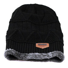 Fashion Unisex Women Mens Winter Warm Knit Wool Baggy Beanie Hat Crochet Ski Cap