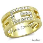 Women's Girls 14k Gold Plated Stainless Steel Crystal G Fashion Ring Size 5-10
