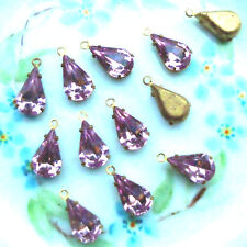 #232 Vintage Drops Rhinestones Light Amethyst  Pronged Setting Dangles NOS Pear