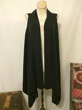 New! EILEEN FISHER merino wool dark gray open front hi-lo sleeveless cardigan S