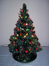 "Vtg 15"" Lighted Ceramic Christmas Tree & Base~ Green w/ Colored Bulbs & Birds"