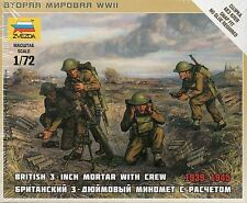 Zvezda 1/72 Figures British 3 Inch Mortar with Crew 1939 - 1945  Z6168