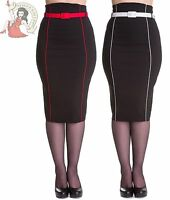 HELL BUNNY 50's KRISTINA womens PENCIL PIN UP wiggle SKIRT rockabilly BLACK