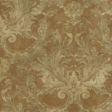 Acanthus Scroll Damask Wallpaper in Gold, Taupe & Beige per Double Roll  GL4632