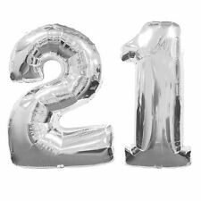 Large Number 21 Silver Balloons 21th Birthday Anniversary Foil Float Helium USA