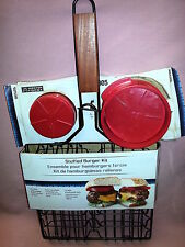 Master Forge Stuffed Burger Kit - Press & Non- Stick Grilling Basket for 4