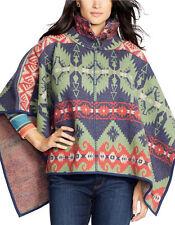 Lauren Ralph Lauren Patterned Wool Poncho SWEATER SOUTHWESTERN WOMENS L/XL $325