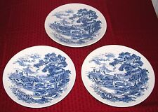 "(3) Enoch Wedgwood Tunstall Ltd England Countryside Blue 9 7/8"" Dinner Plates VG"